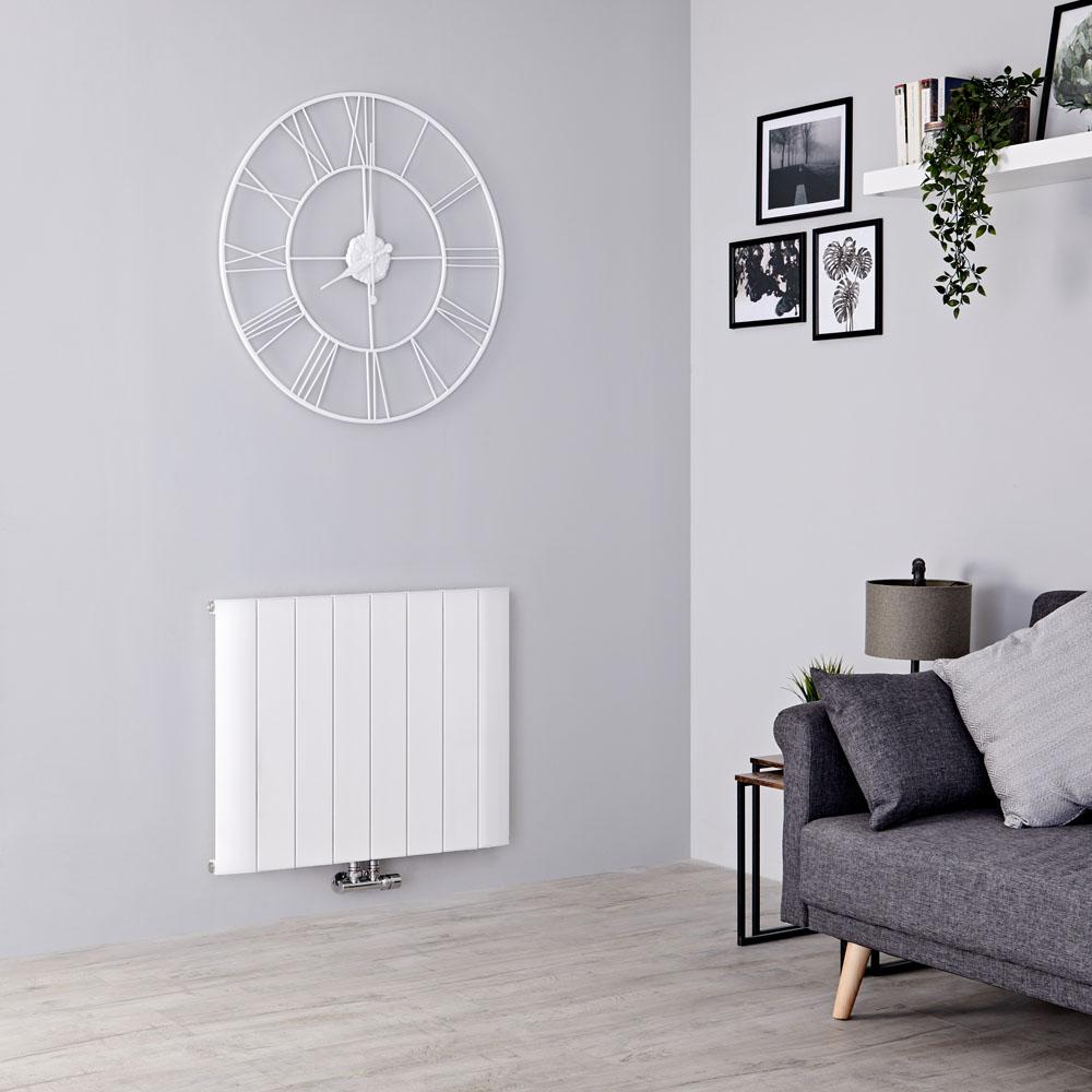 Milano Skye - Aluminium White Horizontal Designer Radiator 600mm x 755mm