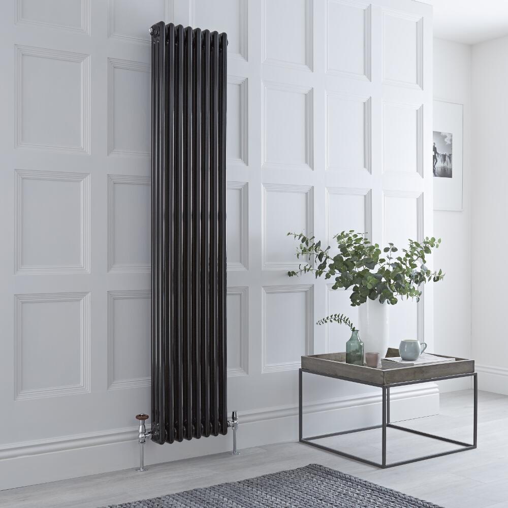 Milano Windsor - Vertical Triple Column Black Traditional Cast Iron Style Radiator - 1800mm x 380mm