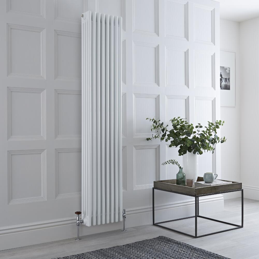 Milano Windsor - Vertical Four Column White Traditional Cast Iron Style Radiator - 1800mm x 380mm