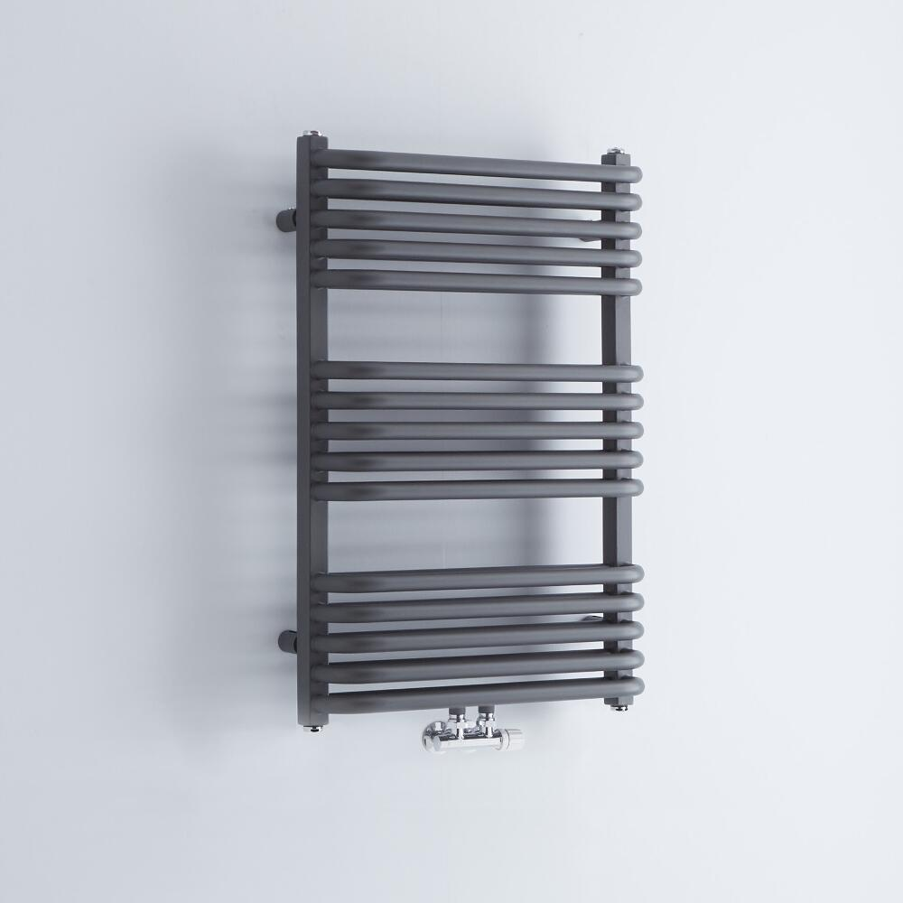 Milano Bow - Anthracite D Bar Heated Towel Rail 736mm x 500mm