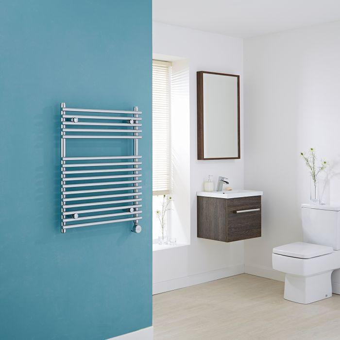 Rogerseller Fold Single 750 Heated Towel Rails: Flat Chrome Bar On Bar Towel Rail 750mm X
