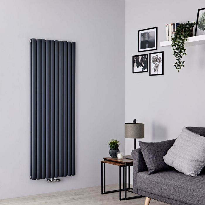 Milano Aruba Flow - Anthracite Vertical Double Panel Middle Connection Designer Radiator 1600mm x 590mm