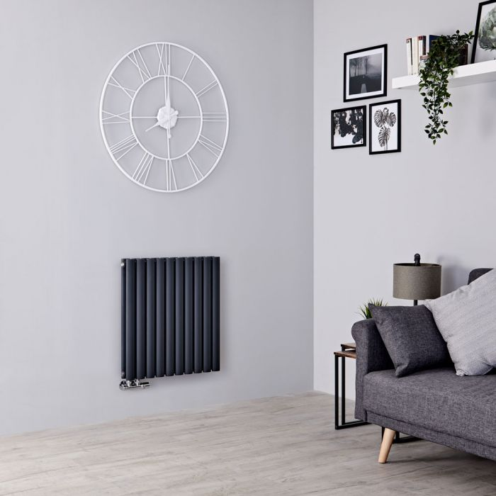 Milano Aruba Flow - Anthracite Horizontal Double Panel Middle Connection Designer Radiator 635mm x 590mm