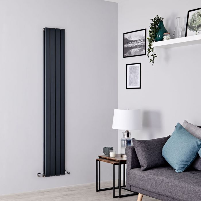 Milano Alpha - Anthracite Vertical Double Slim Panel Designer Radiator 1600mm x 280mm