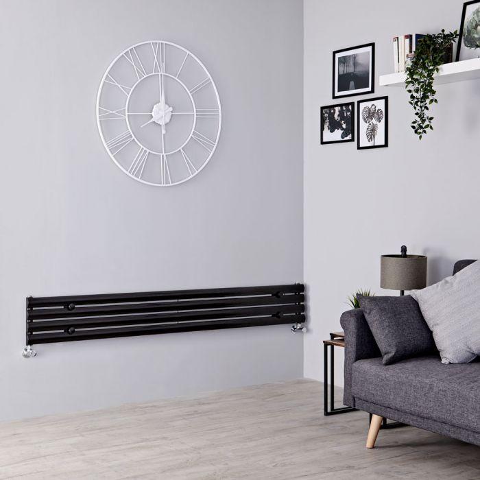 Milano Aruba - Black Horizontal Designer Radiator 236mm x 1600mm