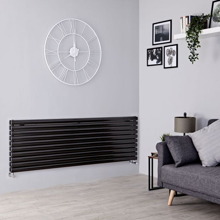 Milano Aruba - Black Horizontal Designer Radiator 590mm x 1600mm (Double Panel)