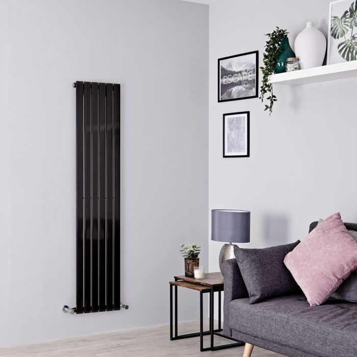 Milano Capri - Black Vertical Flat Panel Designer Radiator 1600mm x 354mm