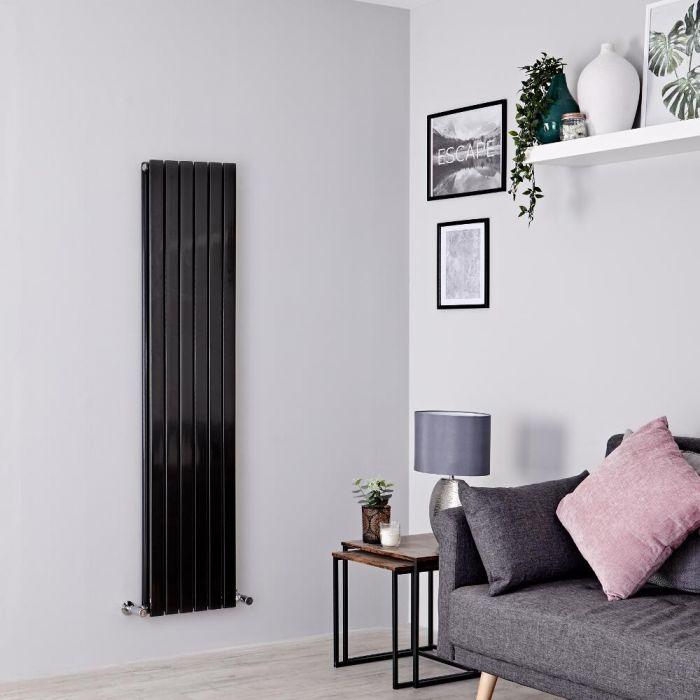 Milano Capri - Black Flat Vertical Designer Radiator 1600mm x 354mm (Double Panel)