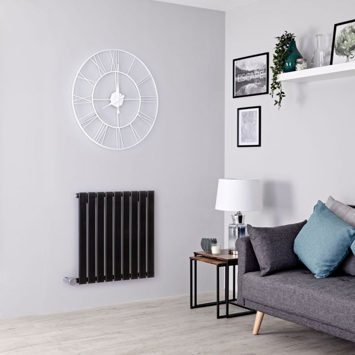 Milano Alpha Electric - Black Horizontal Single Slim Panel Designer Radiator 635mm x 630mm