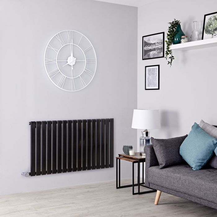 Milano Alpha Electric - Black Horizontal Single Slim Panel Designer Radiator 635mm x 1190mm