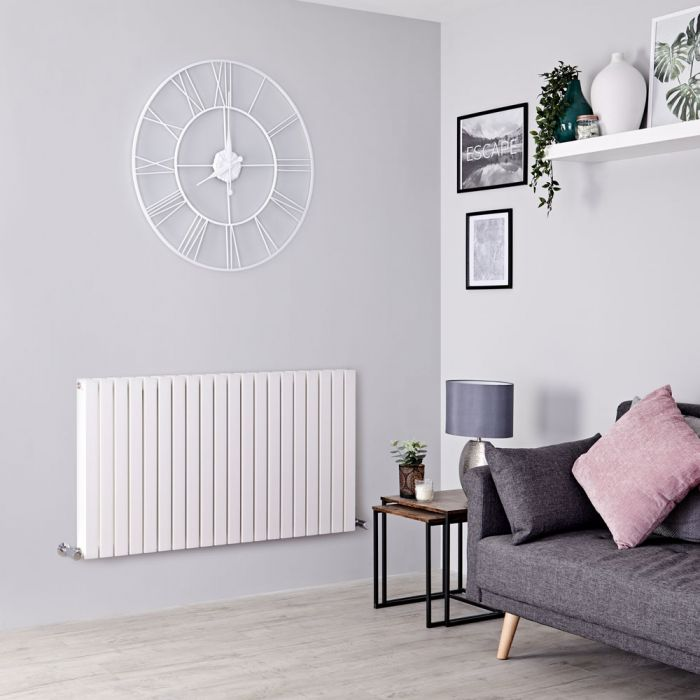 Milano Capri - White Horizontal Flat Panel Designer Radiator 635mm x 1200mm (Double Panel)