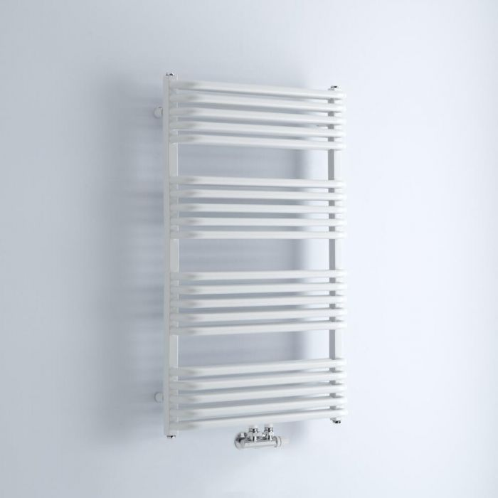 Milano Bow - White D Bar Heated Towel Rail 1000mm x 600mm