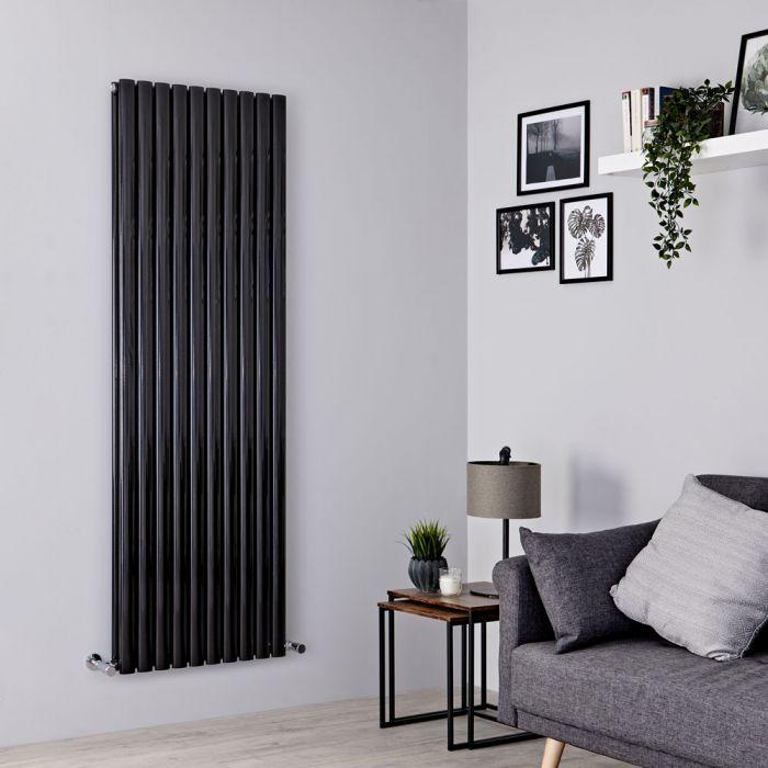 Milano Aruba - Black Vertical Designer Radiator 1780mm x 590mm (Double Panel)