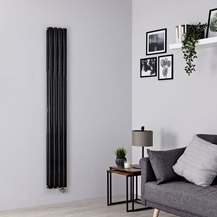Milano Aruba Slim Electric - Black Space-Saving Vertical Designer Radiator 1780mm x 236mm (Double Panel)
