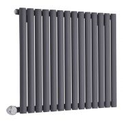 Milano Aruba Electric - Anthracite Horizontal Designer Radiator 635mm x 834mm