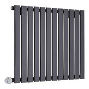 Milano Alpha Electric - Black Horizontal Single Slim Panel Designer Radiator 635mm x 840mm