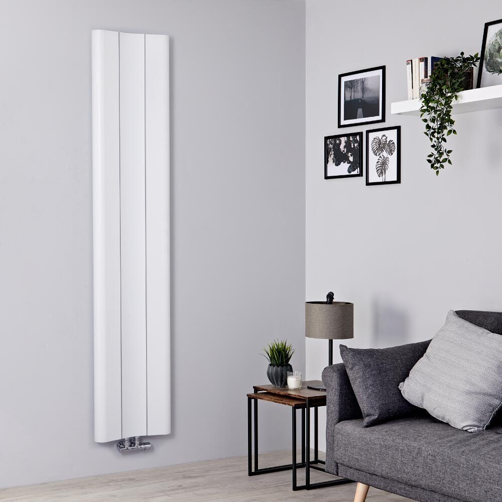 Milano Solis - White Vertical Aluminium Designer Radiator 18mm x 18mm