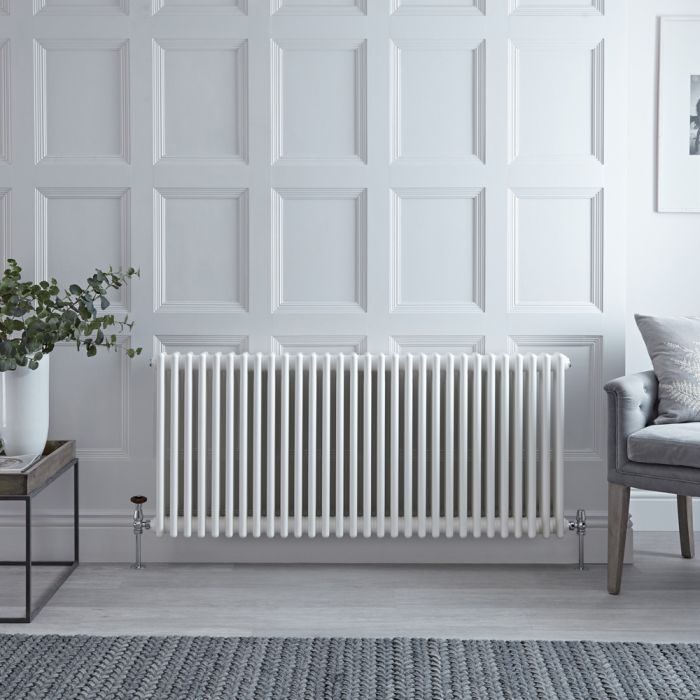 Stelrad Regal - Horizontal Triple Column White Traditional Cast Iron Style Radiator - 500mm x 1456mm