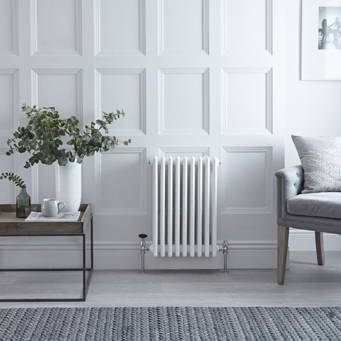 Stelrad Regal - Horizontal Four Column White Traditional Cast Iron Style Radiator - 750mm x 444mm