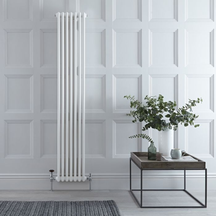 Stelrad Regal - Vertical Double Column White Traditional Cast Iron Style Radiator - 1800mm x 352mm