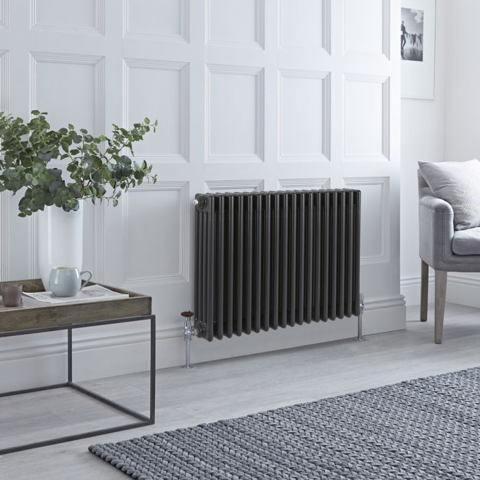 Stelrad Regal - Horizontal Four Column Anthracite Traditional Cast Iron Style Radiator - 600mm x 858mm