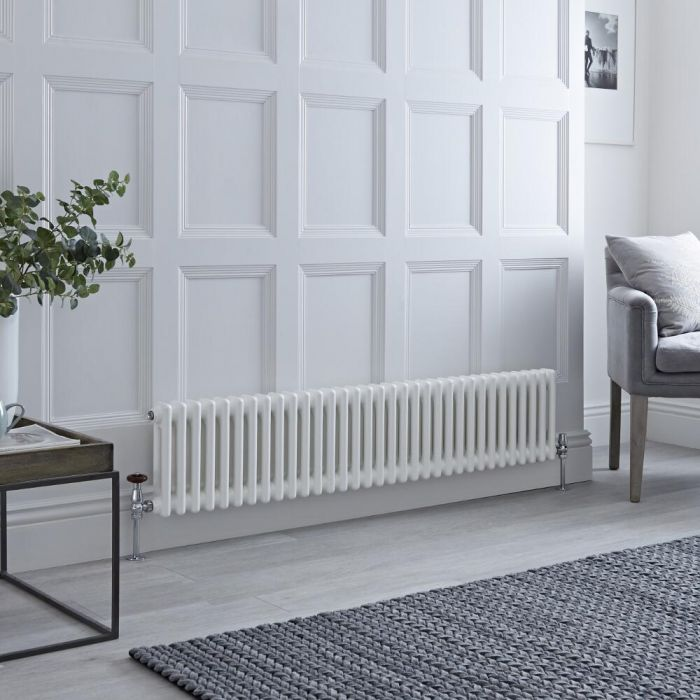 Milano Windsor - Horizontal Double Column White Traditional Cast Iron Style Radiator - 300mm x 1505mm