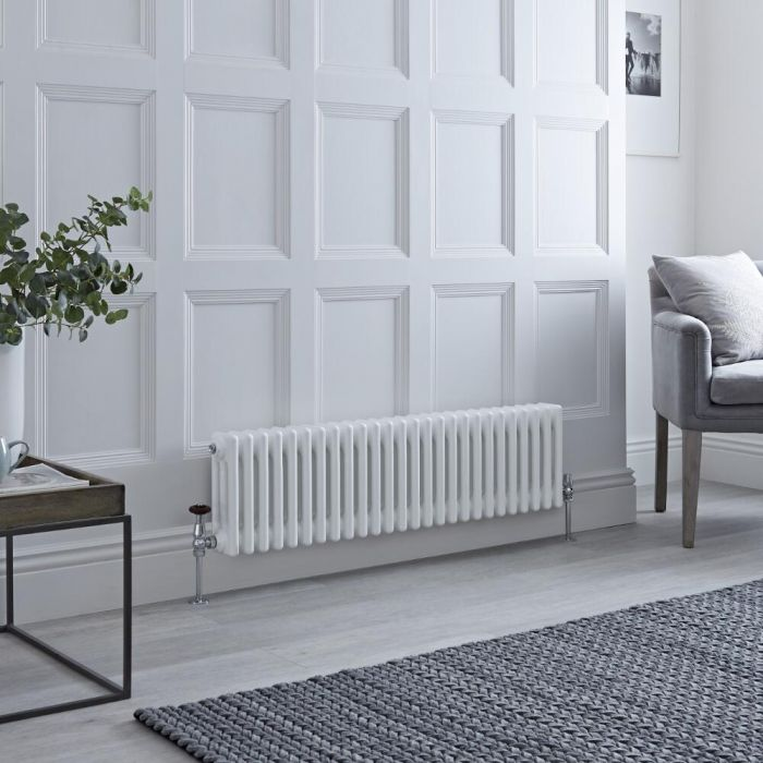 Milano Windsor - Horizontal Triple Column White Traditional Cast Iron Style Radiator - 300mm x 1190mm