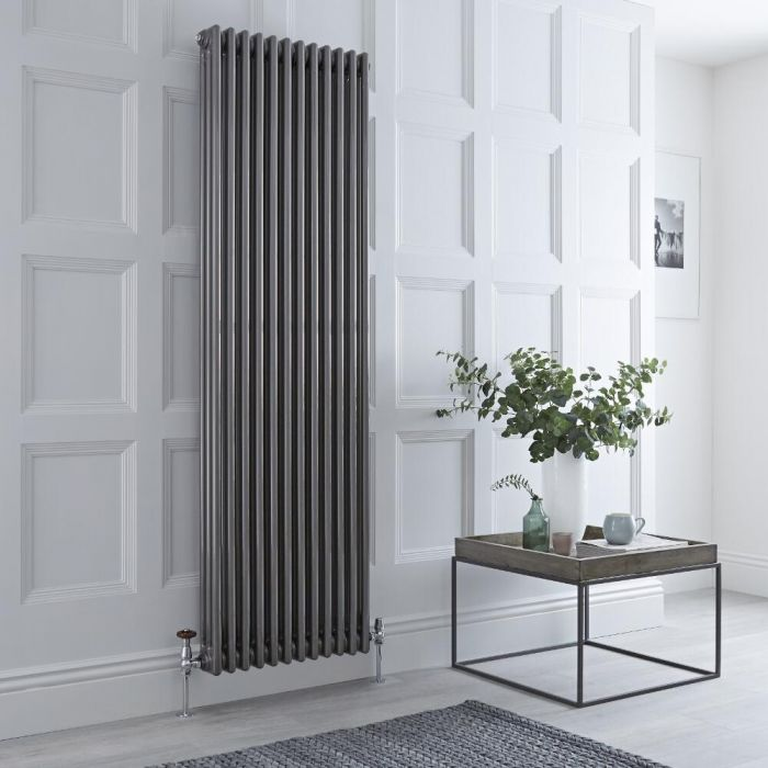 Milano Windsor - Vertical Triple Column Lacquered Raw Metal Traditional Cast Iron Style Radiator - 1800mm x 560mm