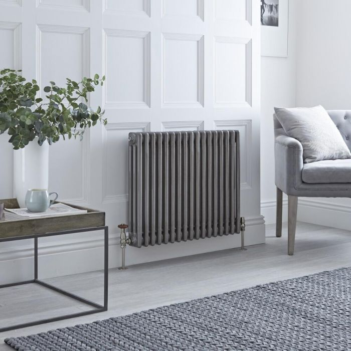Milano Windsor - Horizontal Triple Column Lacquered Raw Metal Traditional Cast Iron Style Radiator - 600mm x 785mm