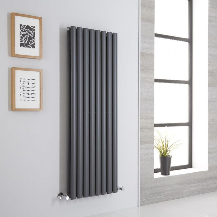 Milano Aruba - Anthracite Space-Saving Vertical Designer Radiator 1400mm x 472mm (Double Panel)