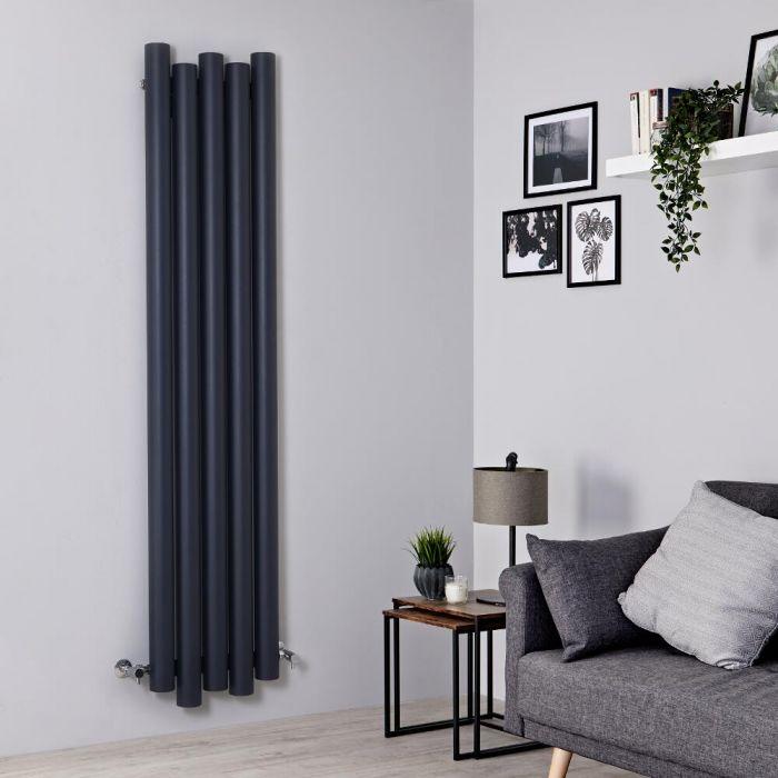 Milano Motus - Anthracite Vertical Aluminium Designer Radiator 1800mm x 390mm