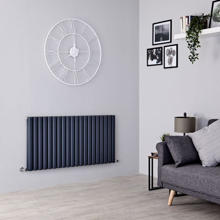 Milano Aruba Ayre - Aluminium Anthracite Horizontal Designer Radiator 600mm x 1190mm (Double Panel)