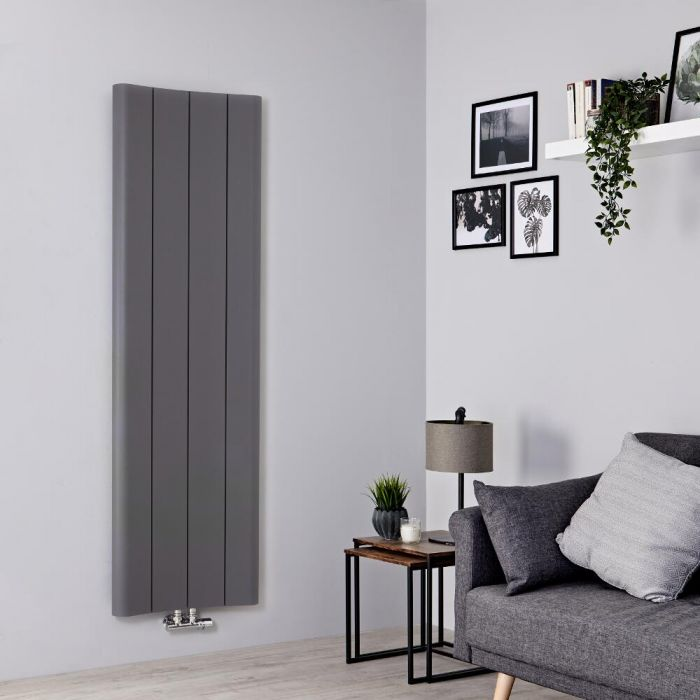 Milano Solis - Light Grey Vertical Aluminium Designer Radiator 1600mm x 495mm
