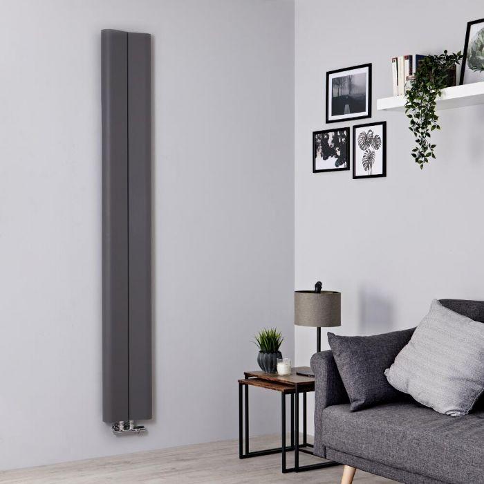 Milano Solis - Light Grey Vertical Aluminium Designer Radiator 1800mm x 245mm