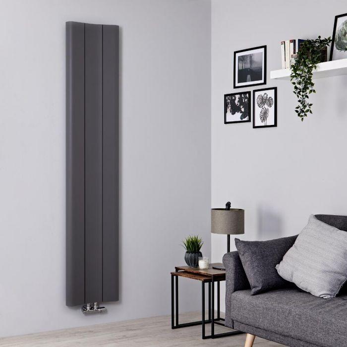 Milano Solis - Light Grey Vertical Aluminium Designer Radiator 1800mm x 370mm