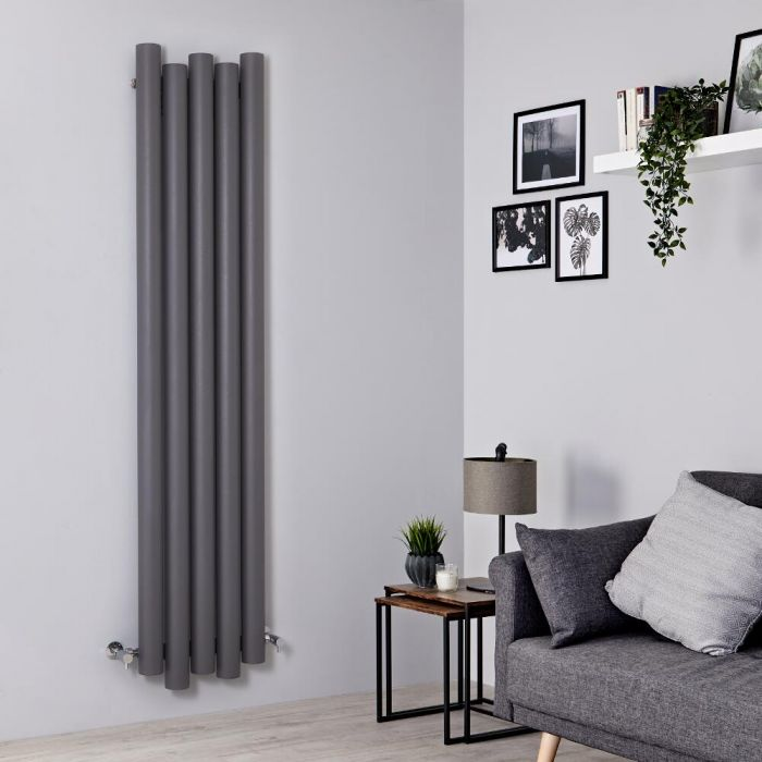 Milano Motus - Light Grey Vertical Aluminium Designer Radiator 1800mm x 390mm