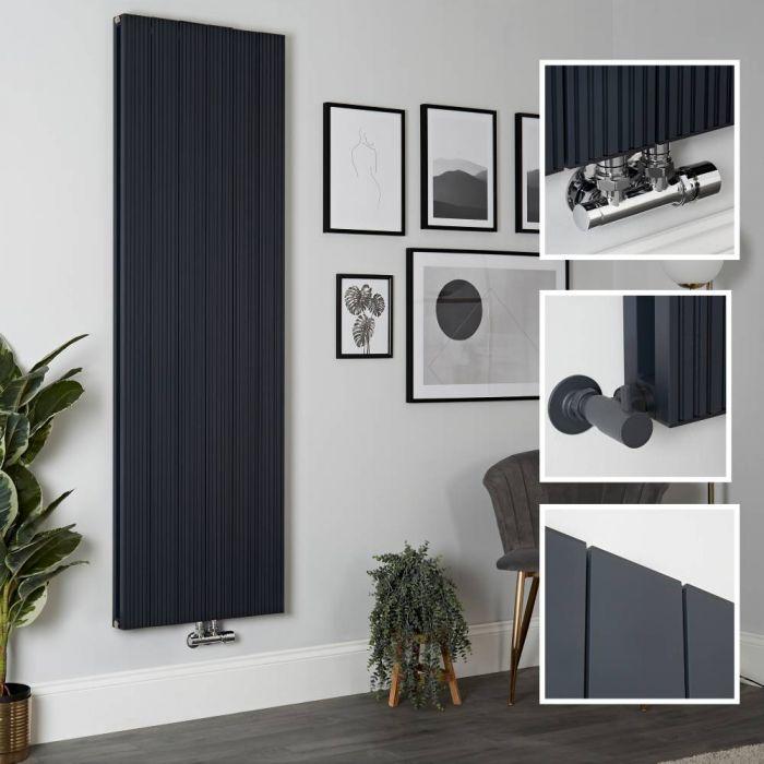 Milano Lex - Anthracite Vertical Aluminium Designer Radiator 1800mm x 565mm (Double Panel)