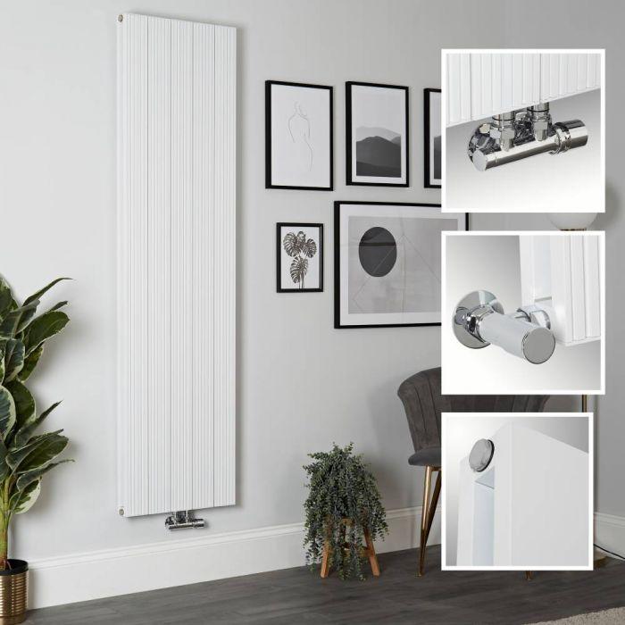 Milano Lex - White Vertical Aluminium Designer Radiator 1800mm x 470mm (Double Panel)