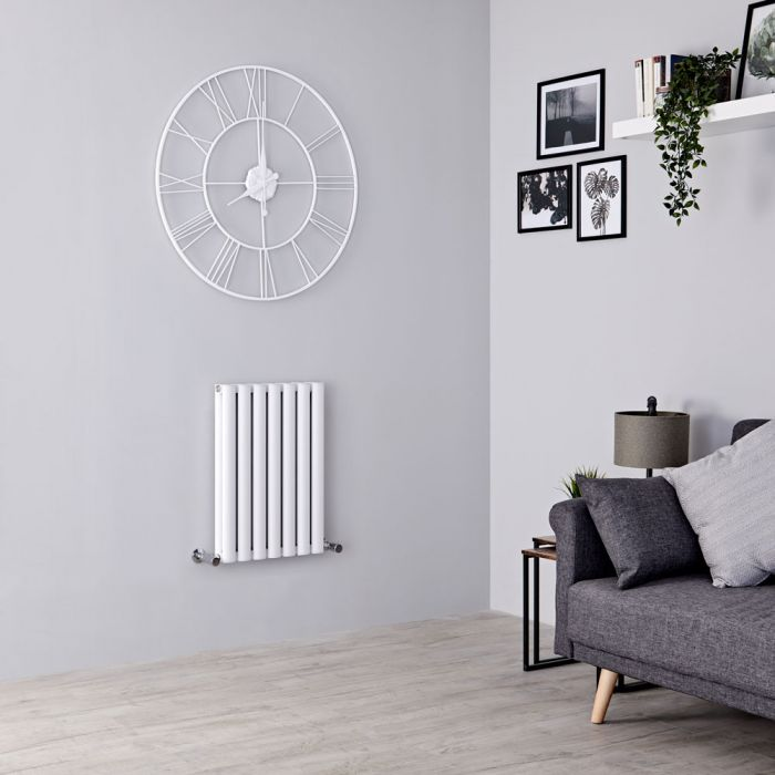Milano Aruba Ayre - Aluminium White Horizontal Designer Radiator 600mm x 410mm (Double Panel)