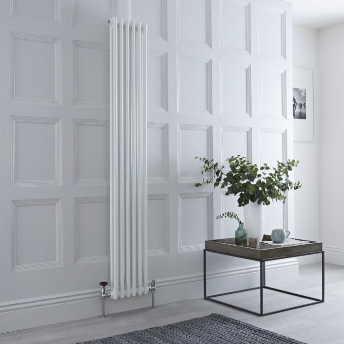 Milano Windsor - Vertical Double Column White Traditional Cast Iron Style Radiator - 1800mm x 290mm