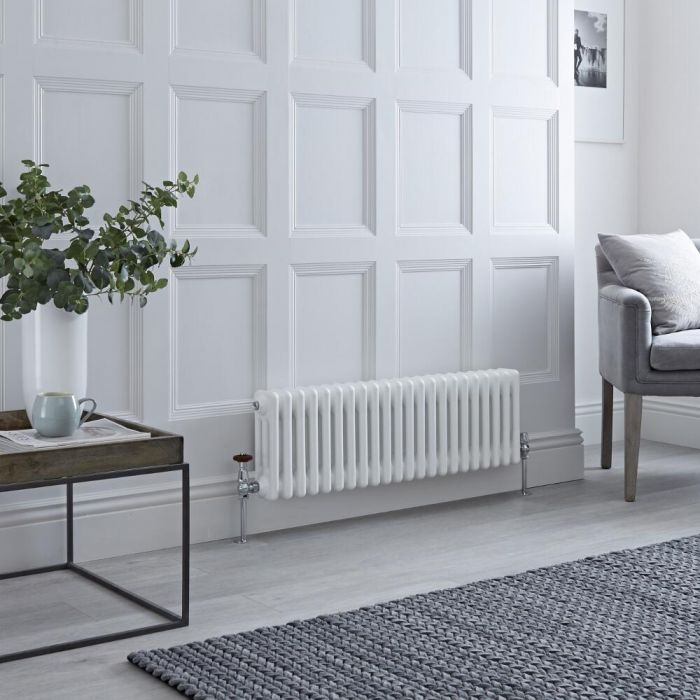 Milano Windsor - Horizontal Triple Column White Traditional Cast Iron Style Radiator - 300mm x 1010mm