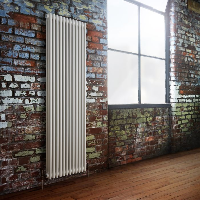 Milano Windsor - Vertical Triple Column White Traditional Cast Iron Style Radiator - 1800mm x 560mm