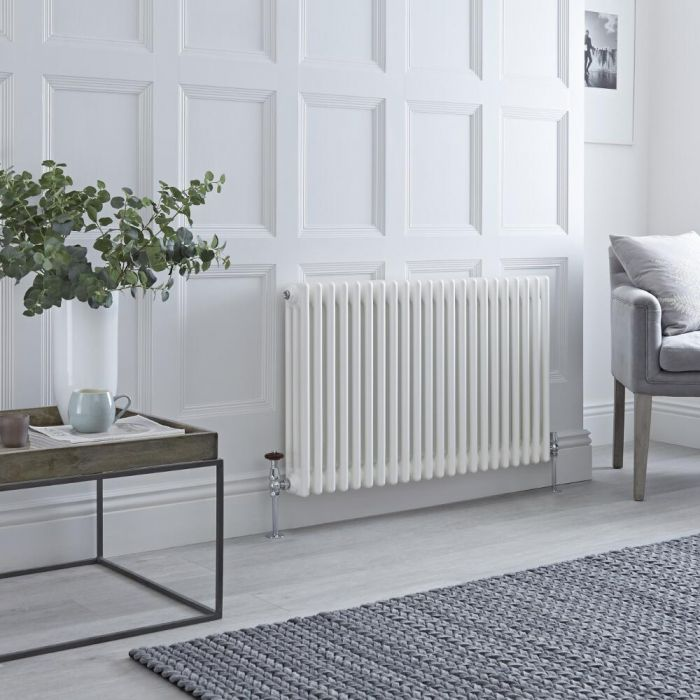 Milano Windsor - Horizontal Triple Column White Traditional Cast Iron Style Radiator - 600mm x 1010mm