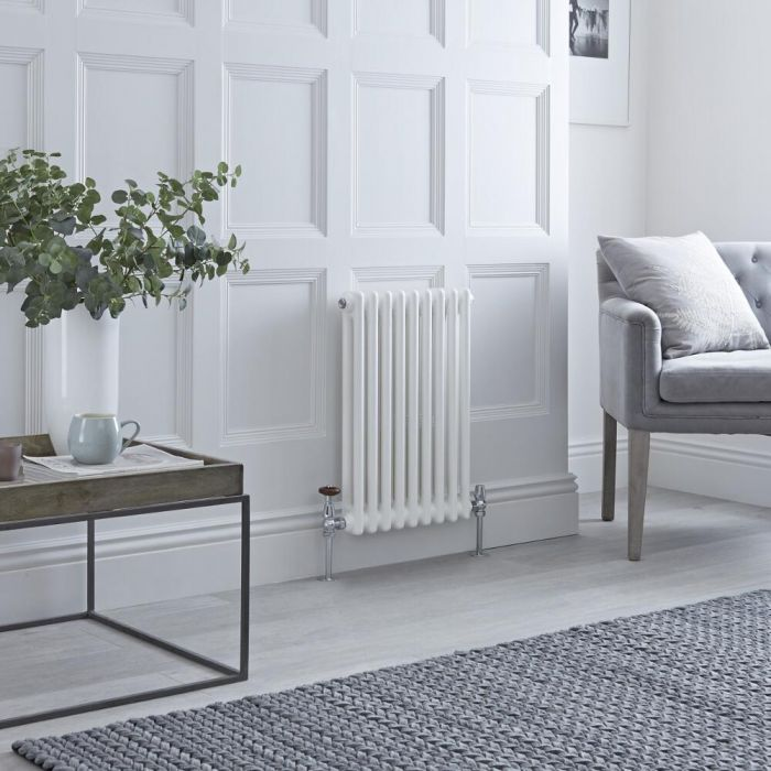 Milano Windsor - Horizontal Double Column White Traditional Cast Iron Style Radiator - 600mm x 425mm