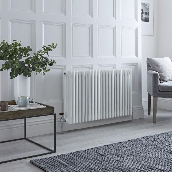 Milano Windsor - Horizontal Four Column White Traditional Cast Iron Style Radiator - 600mm x 1010mm