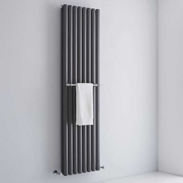 Milano - Chrome Towel Rail for Aruba Vertical Designer Radiator 470mm
