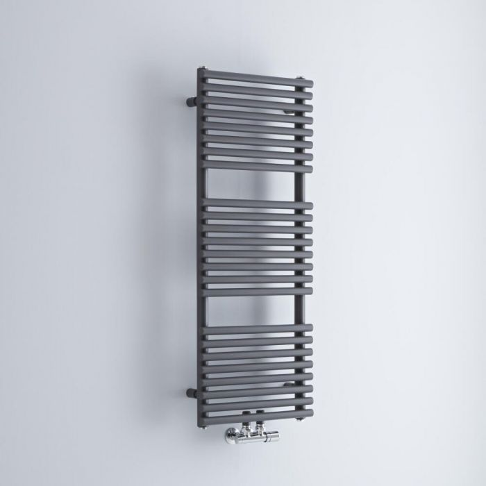 Milano Via - Anthracite Bar on Bar Central Connection Heated Towel Rail 1065mm x 400mm