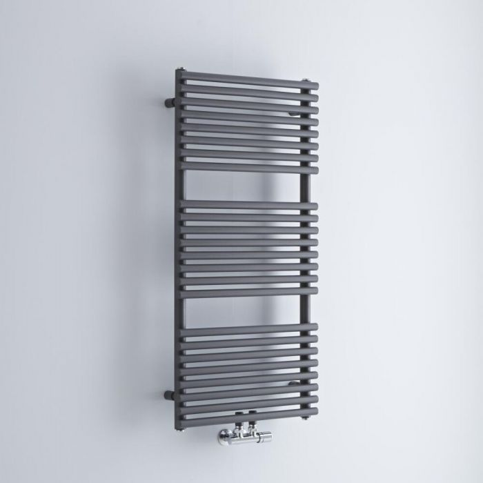 Milano Via - Anthracite Bar on Bar Central Connection Heated Towel Rail 1065mm x 500mm