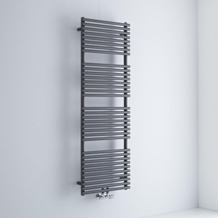 Milano Via - Anthracite Bar on Bar Central Connection Heated Towel Rail 1520mm x 500mm
