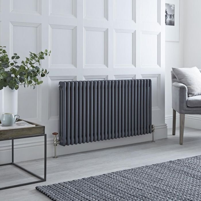 Milano Windsor - Horizontal Triple Column Anthracite Traditional Cast Iron Style Radiator - 600mm x 1190mm